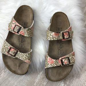 Birki's Floral Leopard Print Comfort Sandal Sz. 38
